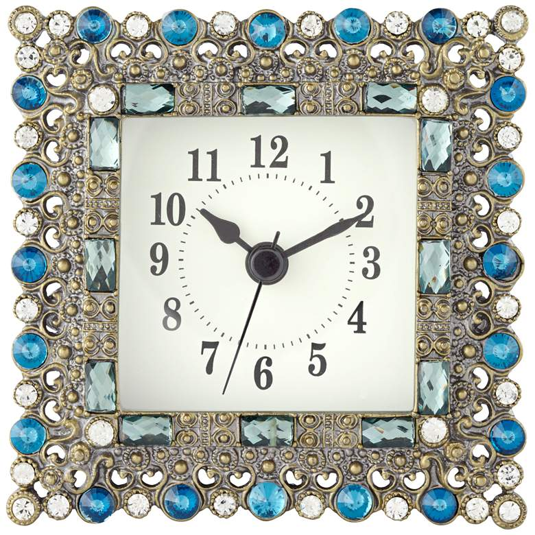 "Aize Blue Jeweled 4 1/4"" Wide Square Table Clock"
