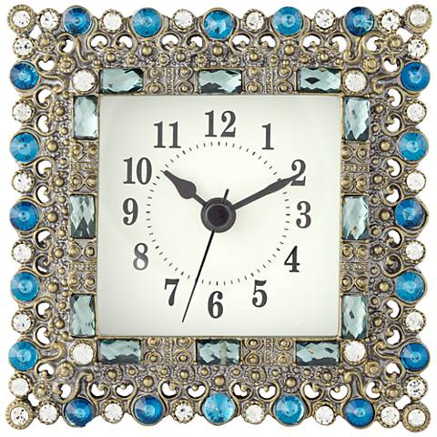 """Aize Blue Jeweled 4 1/4"""" Wide Square Table Clock"""