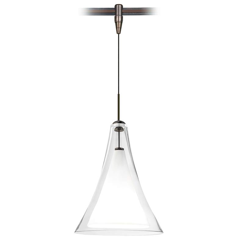 "Melrose II 7 1/2""W Clear Glass Bronze Monorail Mini Pendant"