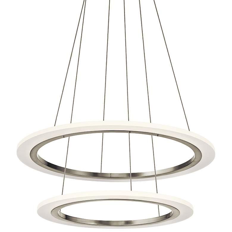 """Elan Hyvo 25""""W Brushed Nickel 2-Ring LED Pendant"""
