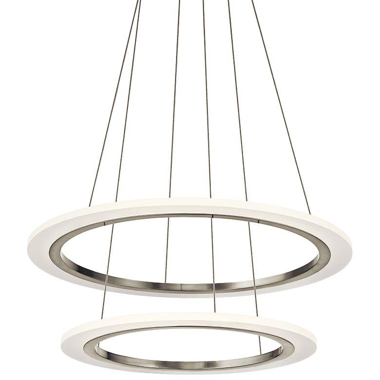 "Elan Hyvo 25""W Brushed Nickel 2-Ring LED Pendant Light"