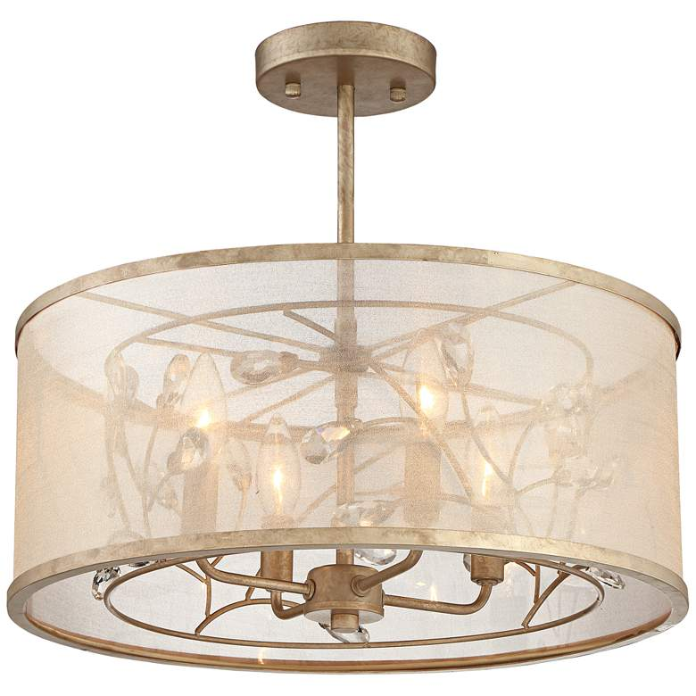 """Sara's Jewel 17"""" Wide Champagne Silver Ceiling Light"""