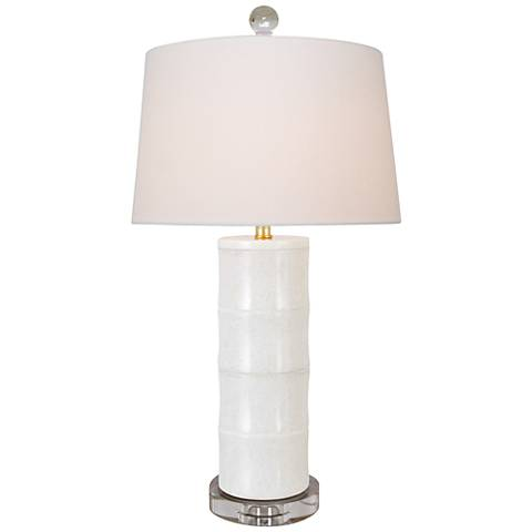 Giant Bamboo White Cylinder Table Lamp