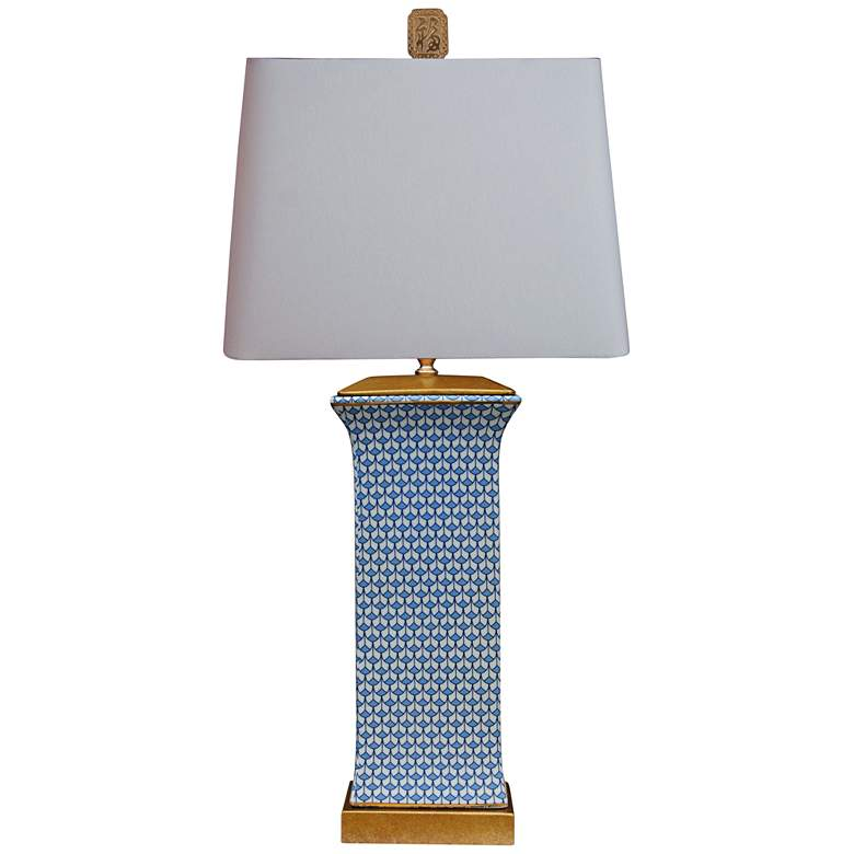 Country Blue Rectangular Porcelain Table Lamp