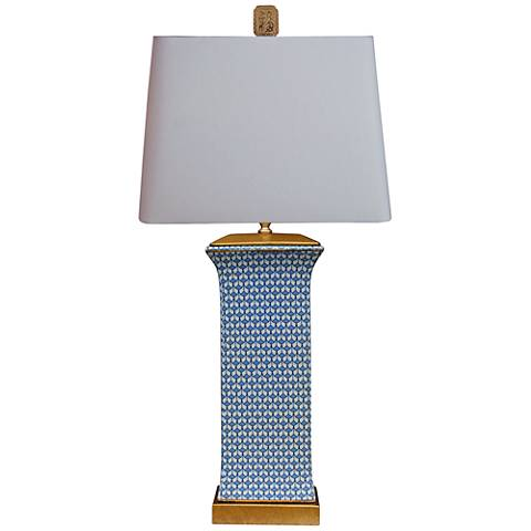 Country Blue Rectangular Porcelain Table Lamp