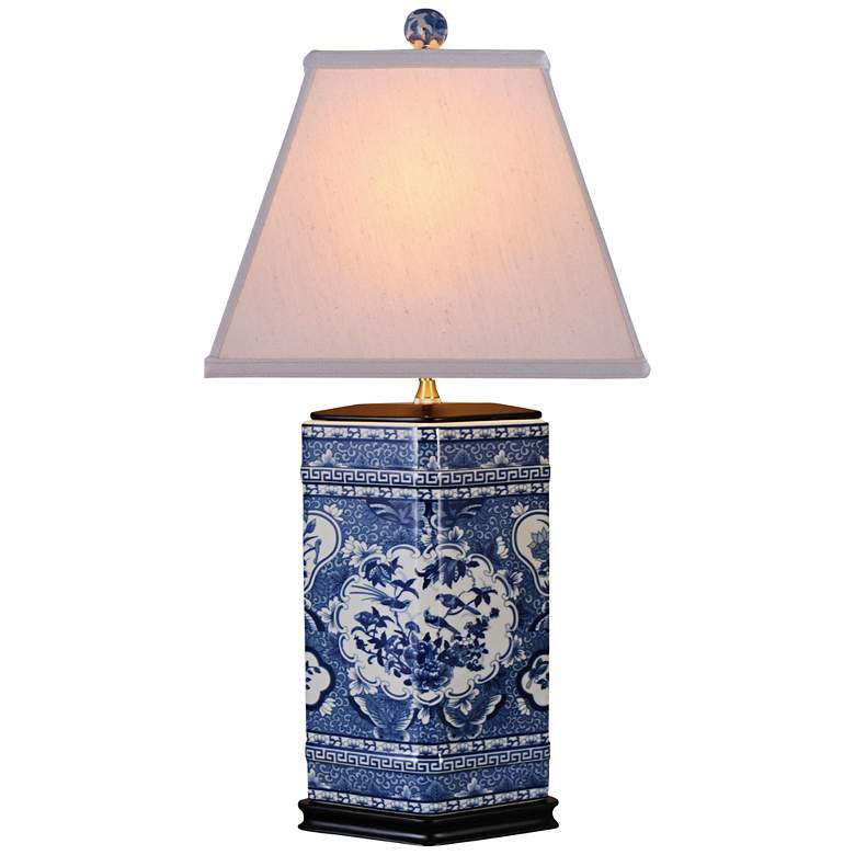 Asian Birds Blue Hexagonal Porcelain Table Lamp