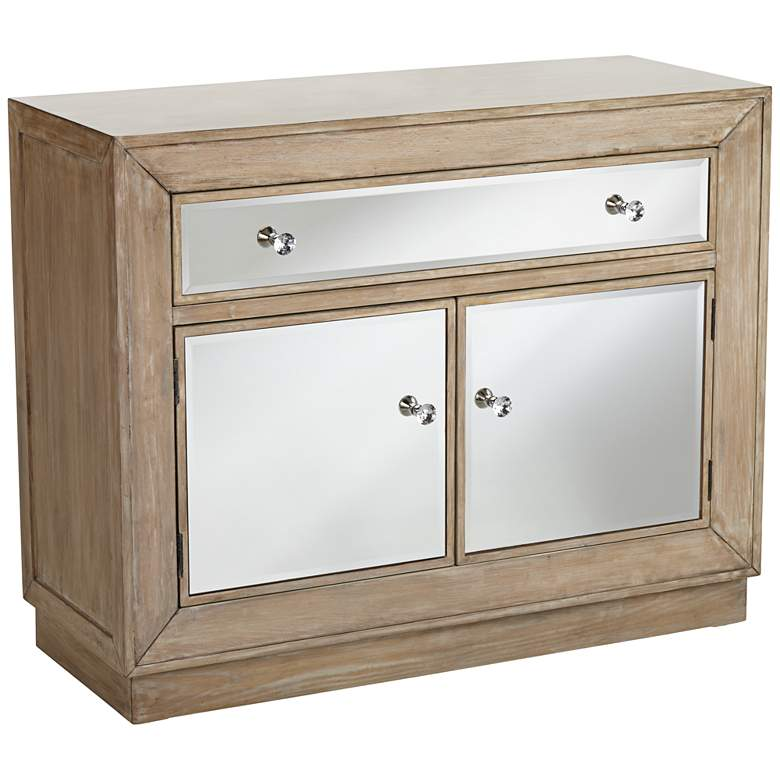 "Gabriella 40"" Wide Mirrored and Oak Wood Accent Chest"