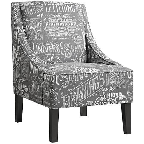 Trask Chalkboard Shadow Dark Gray Swoop Armchair