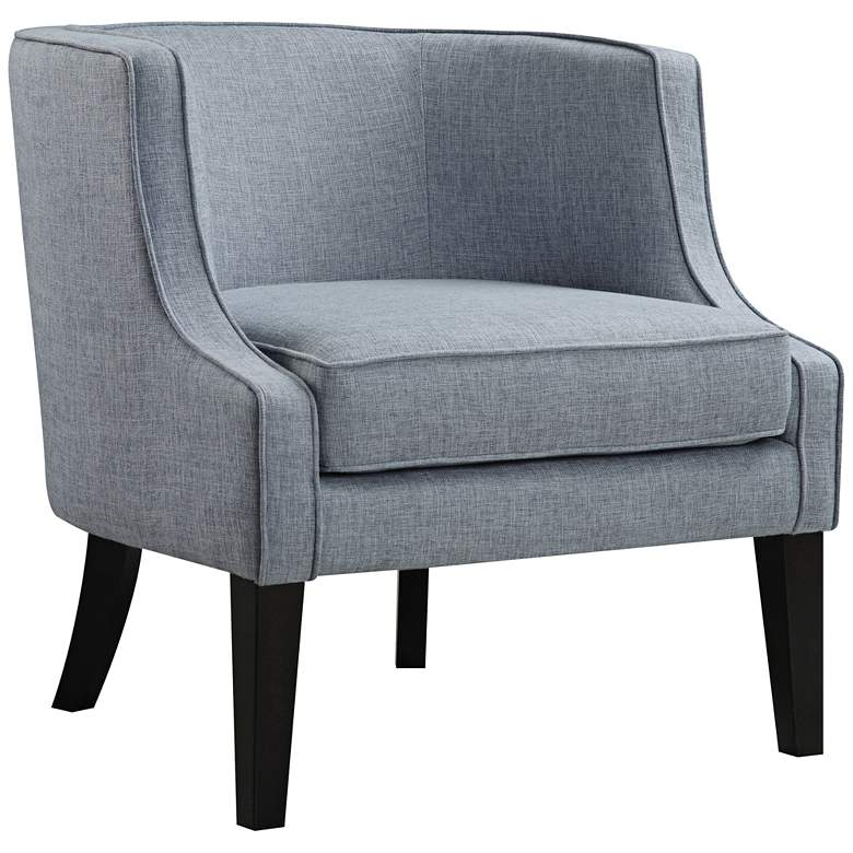 Josette Blue Tide Faded Chambray Fabric Club Chair