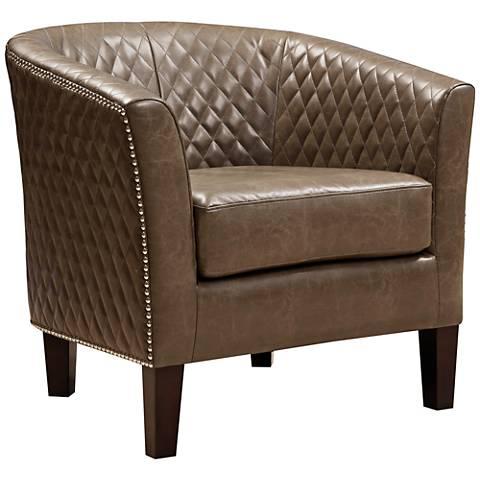 Stoddard Mink Diamond-Stitched Faux Leather Club Chair