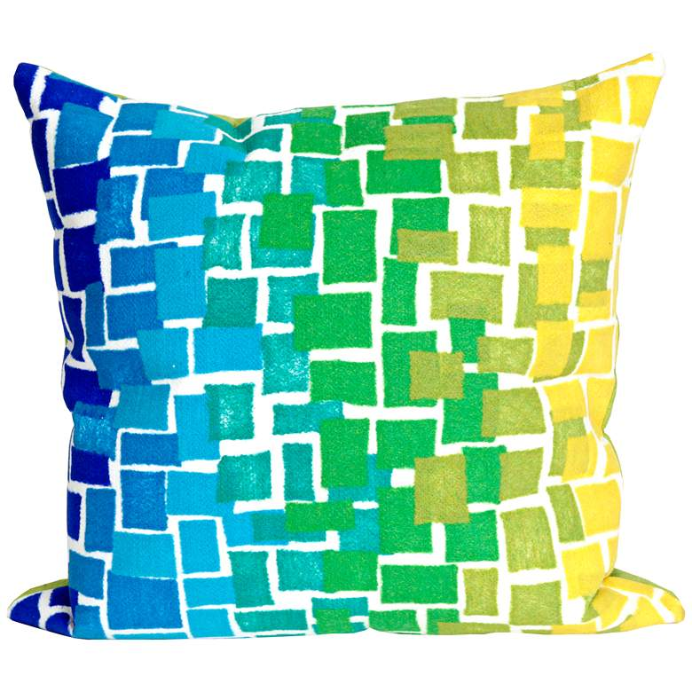 """Visions II Ombre Tile Cool 20"""" Square Indoor-Outdoor Pillow"""