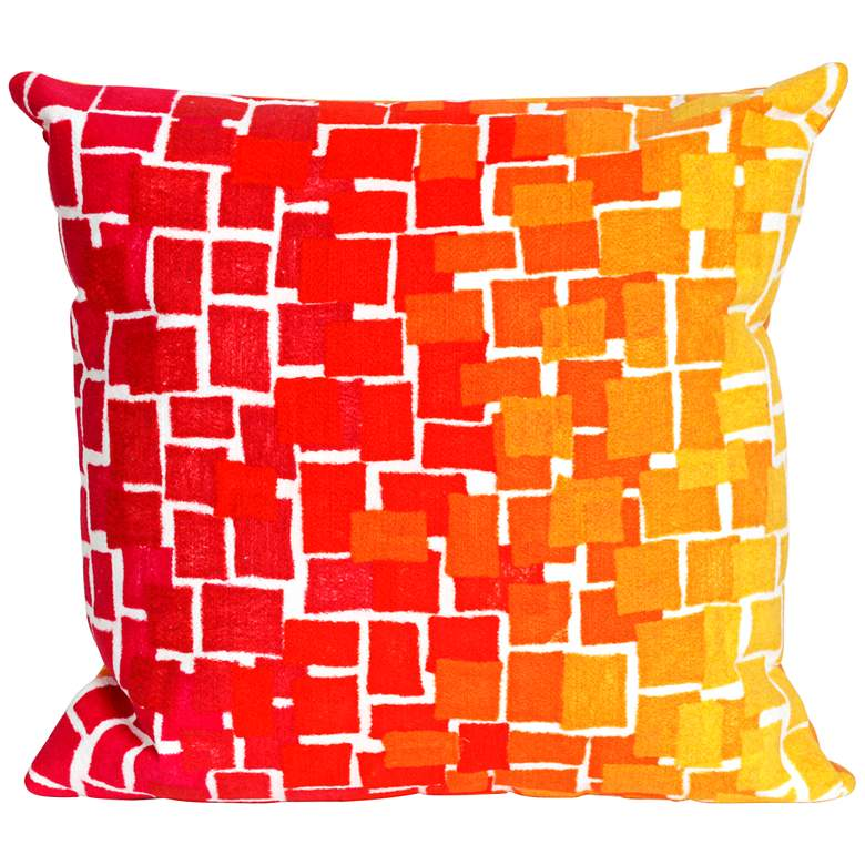"Visions II Ombre Tile Warm 20"" Square Indoor-Outdoor Pillow"