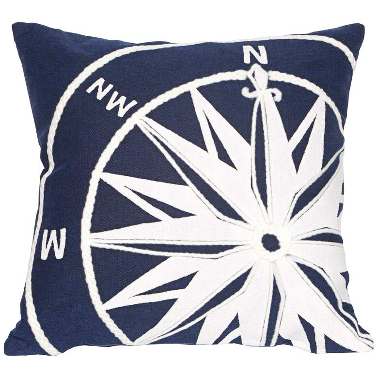 "Visions II Compass Marine 20"" Square Indoor-Outdoor Pillow"