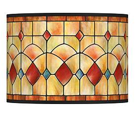 Tiffany Style Reds Drum Lamp Shade 13 5x13 5x10 Spider