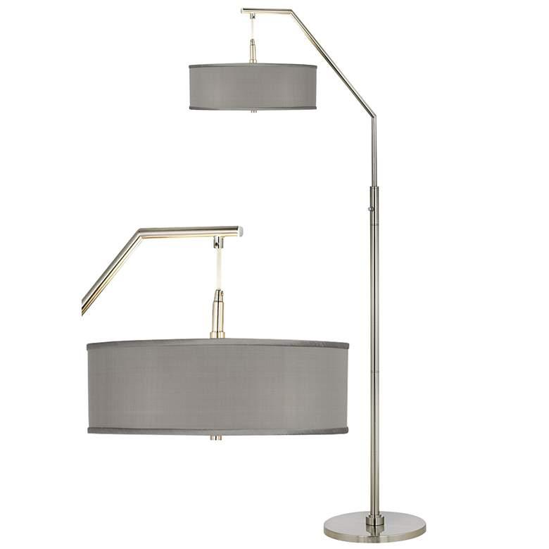 Gray Faux Silk Modern Arc Floor Lamp