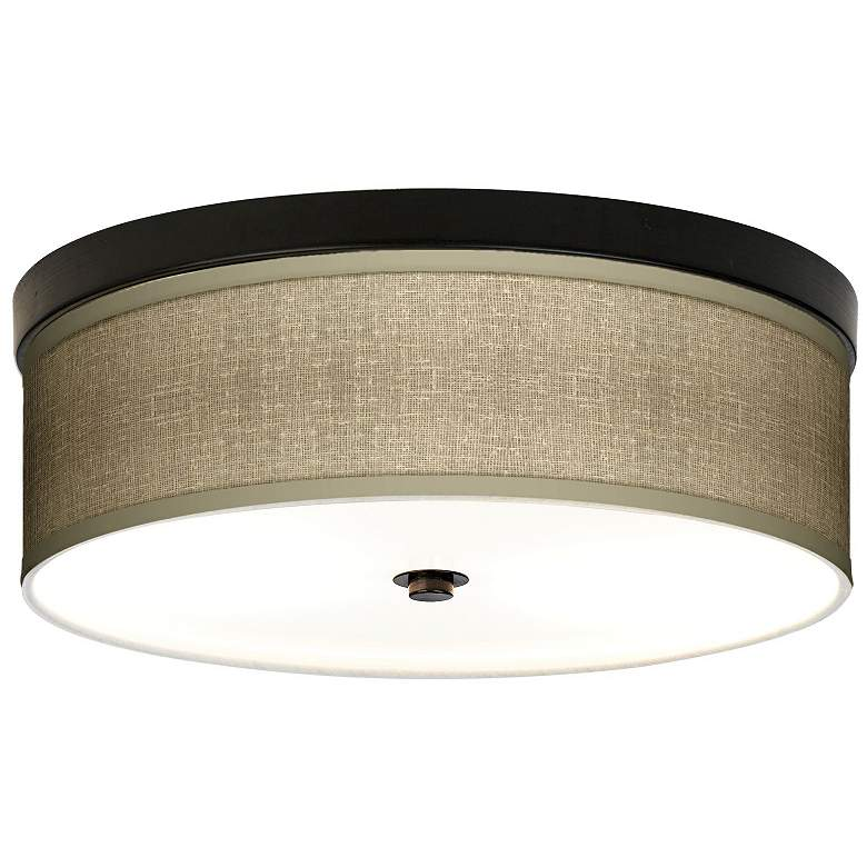"Burlap Print Bronze Giclee 14"" Wide Ceiling Light"