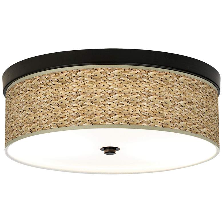 Seagrass Print Pattern Energy Efficient Bronze Ceiling Light