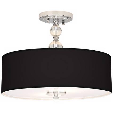 """All Black Giclee 16"""" Wide Semi-Flush Ceiling Light"""