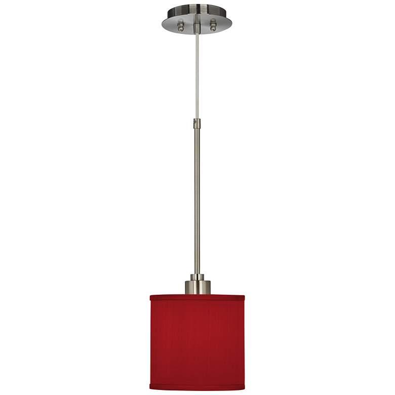 "Red 7"" Wide Textured Faux Silk Mini Pendant Light"