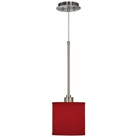 "China Red 7"" Wide Textured Silk Mini Pendant Light"