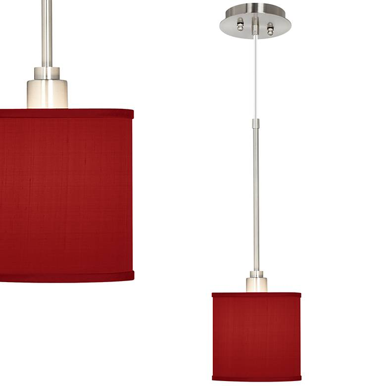 "China Red 7"" Wide Textured Silk Mini Pendant Light"