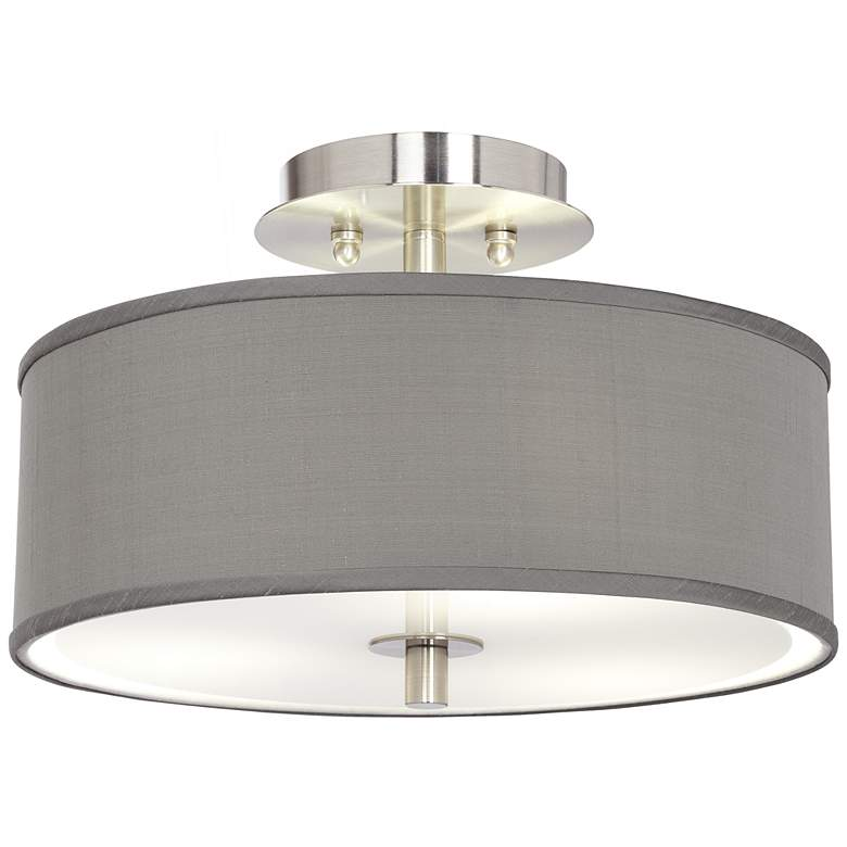 """Gray Polyester 14"""" Wide Ceiling Light"""