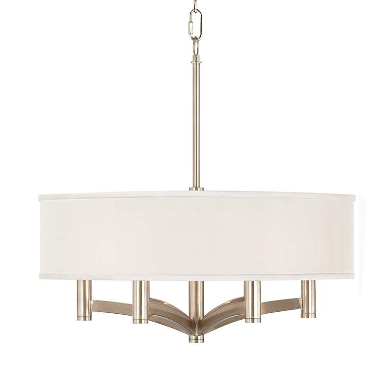 Cream Textured Ava 6-Light Nickel Pendant Chandelier