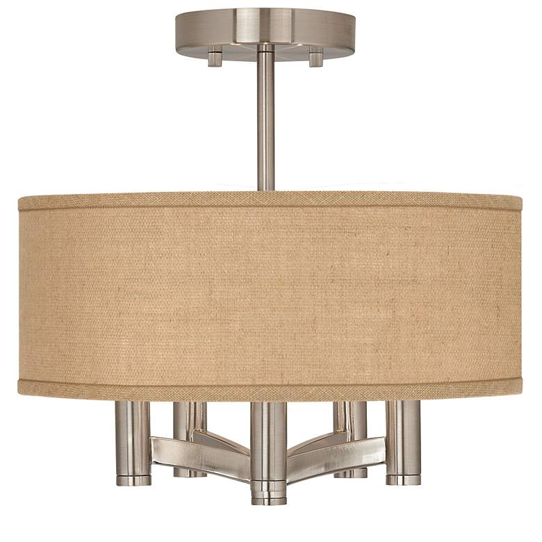 Woven Burlap Ava 5-Light Nickel Ceiling Light