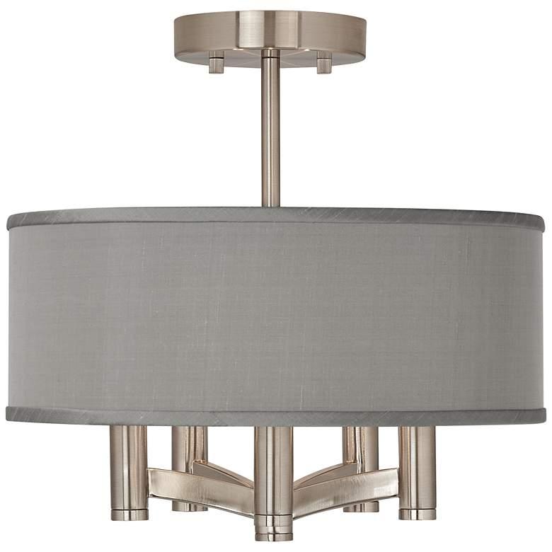 Gray Faux Silk Ava 5-Light Nickel Ceiling Light