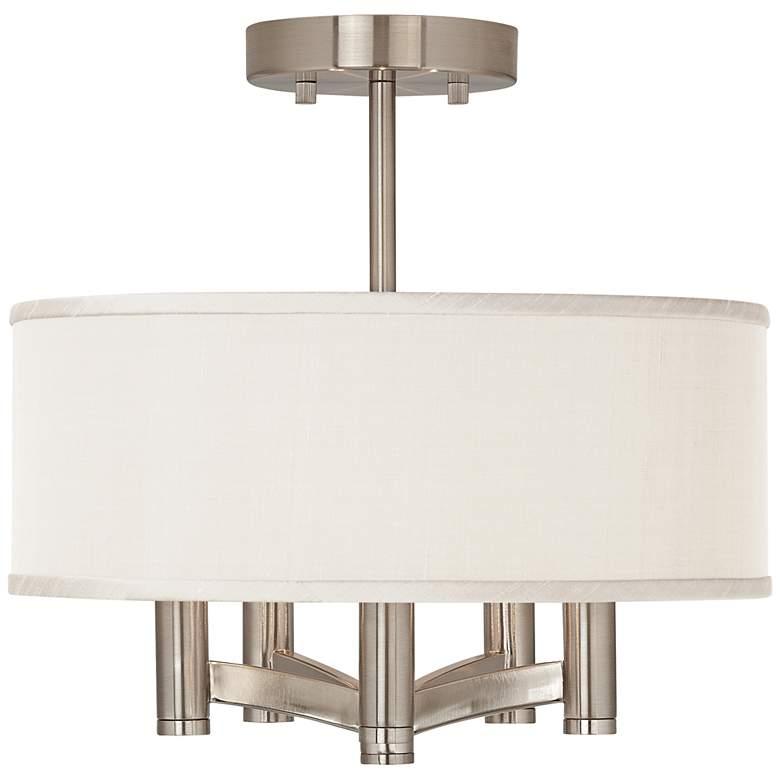 Cream Textured Faux Silk Ava 5-Light Nickel Ceiling Light