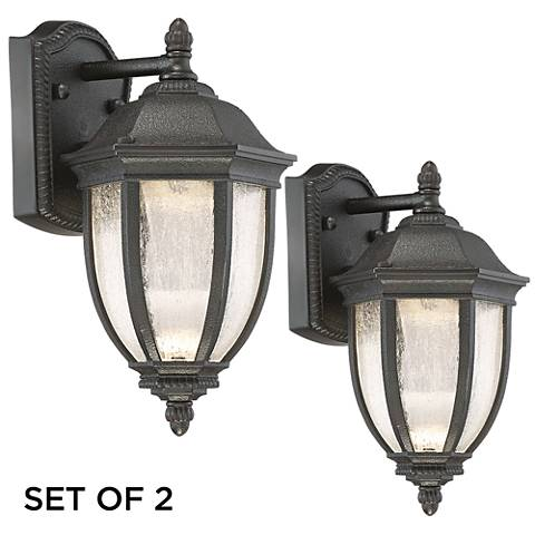 "Set of 2 Millstone 12"" High Charcoal LED Outdoor Wall Light"