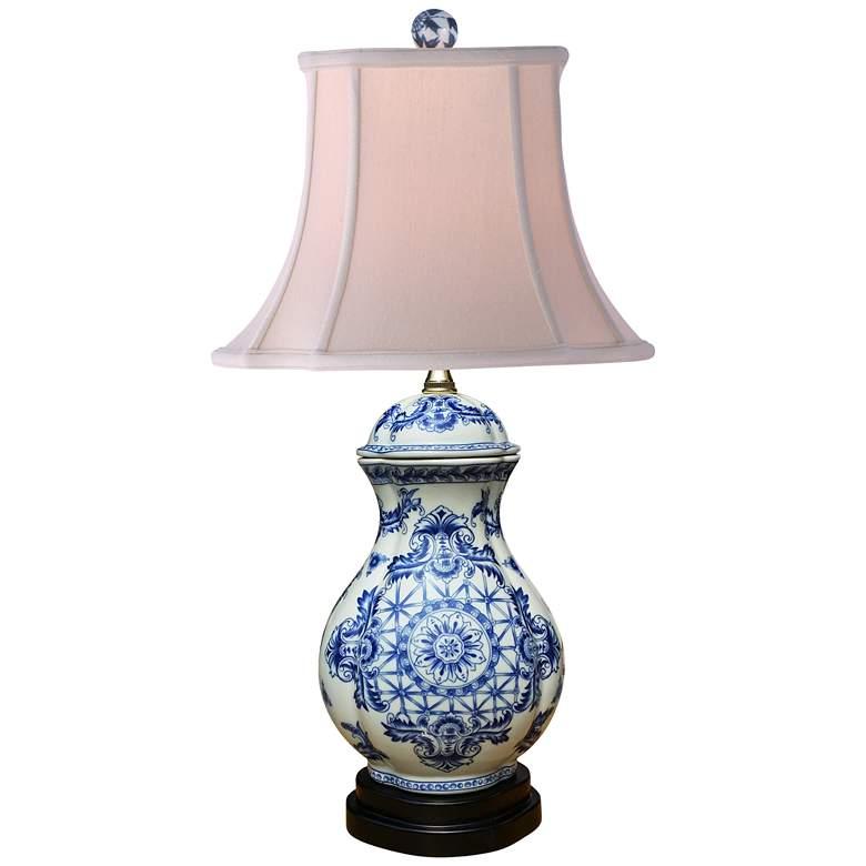 Olde World Blue and White Oval Vase Porcelain Table Lamp