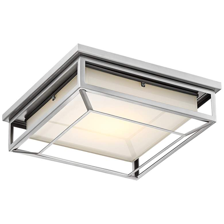 "Radcliffe 12"" Wide Matte Nickel LED Outdoor Ceiling Light"