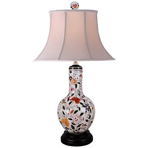 Le Fleur Multi-Color Porcelain Vase Table Lamp
