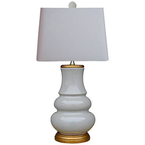 Cirrus Light Gray Double-Gourd Porcelain Table Lamp