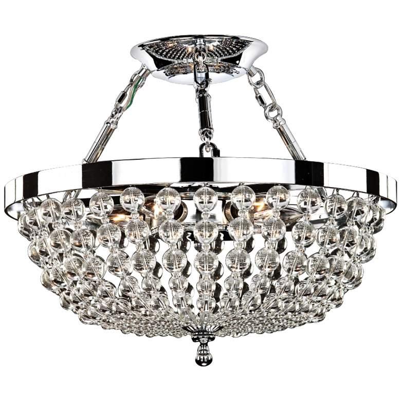 "Arcadia 16 1/2""W 5-Light Chrome and Crystal Ceiling Light"