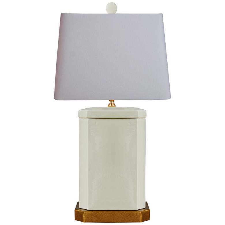 Cleese Cream Porcelain Rectangle Jar Table Lamp