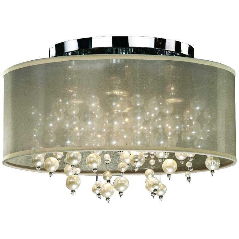 "Champagne 18""W Chrome 4-Light Faux Pearl Ceiling Light"