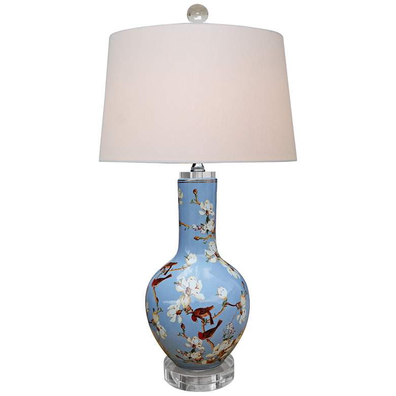 Birds and Cherry Blossoms Blue Porcelain Vase Table Lamp