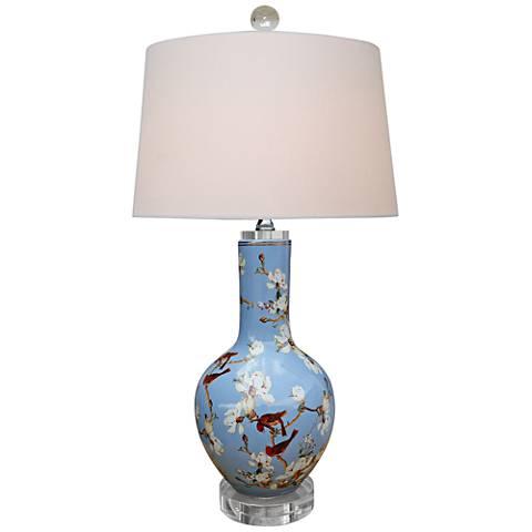 Birds and cherry blossoms blue porcelain vase table lamp 9m013 birds and cherry blossoms blue porcelain vase table lamp mozeypictures Images