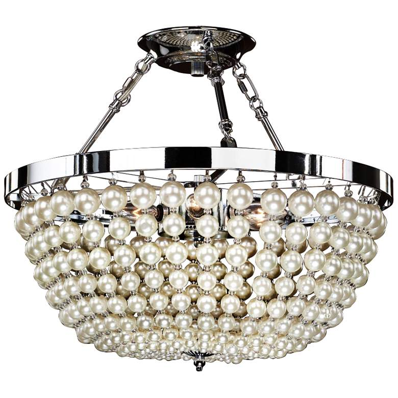 """Moscato Chrome 16 1/2"""" Wide Faux Pearl 5-Light"""