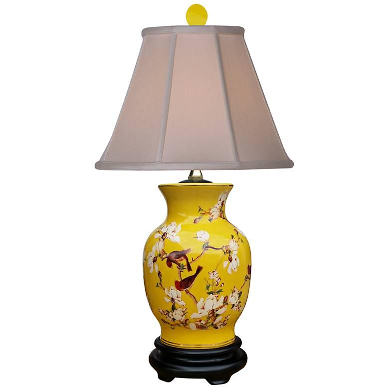 Yellowbird Hand-Painted Porcelain Vase Table Lamp