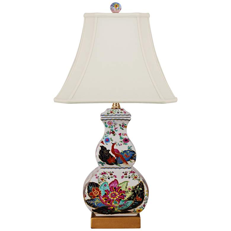 Tobacco Leaves Multi-Color Square Gourd Table Lamp