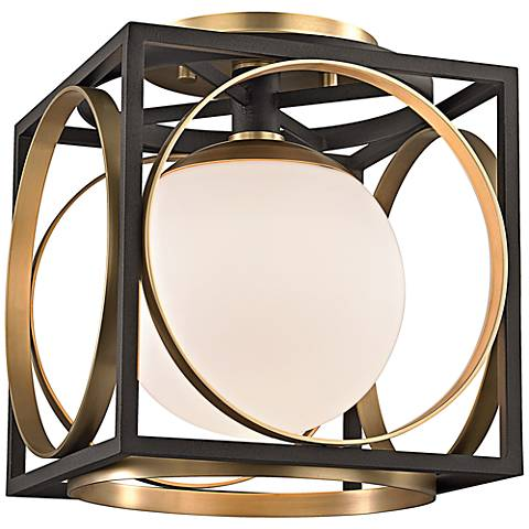 """Wadsworth 11""""H Aged Brass and Black Ceiling Light"""
