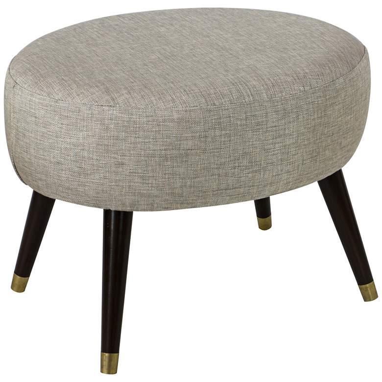 Stewart Groupie Pewter Gray Fabric Oval Ottoman