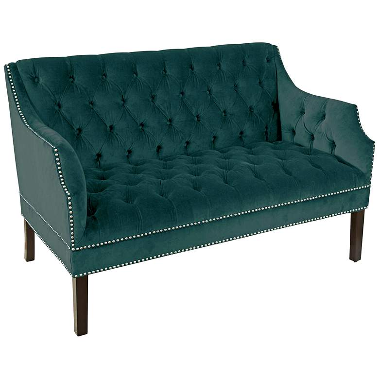 Tana Mystere Peacock 2-Seater Button-Tufted Settee