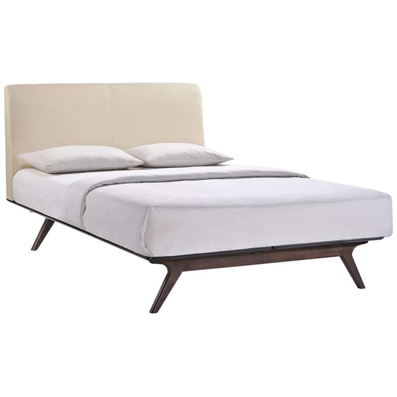Tracy Beige Fabric Cappuccino Queen Platform Bed