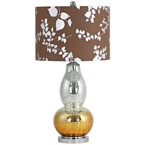 Isola Silver-Copper Crackle Glass Gourd Table Lamp