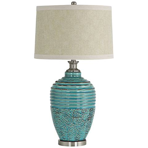 Beta Teal Textured Ceramic Jug Table Lamp