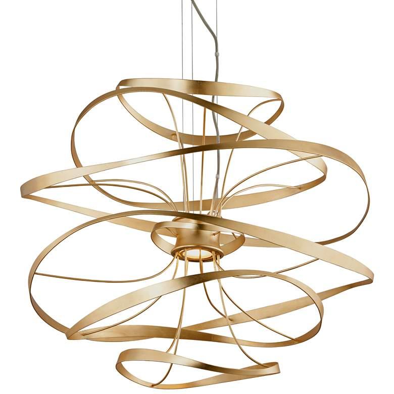 """Corbett Calligraphy 34""""W Gold Leaf LED Pendant Light"""